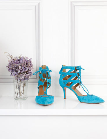 Aquazzura turquoise Belgravia 75 pumps 4Uk
