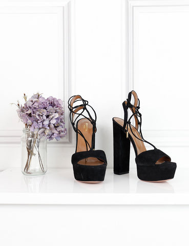 Aquazzura black suede Austin plateau sandals 15cm 5.5UK- My Wardrobe Mistakes