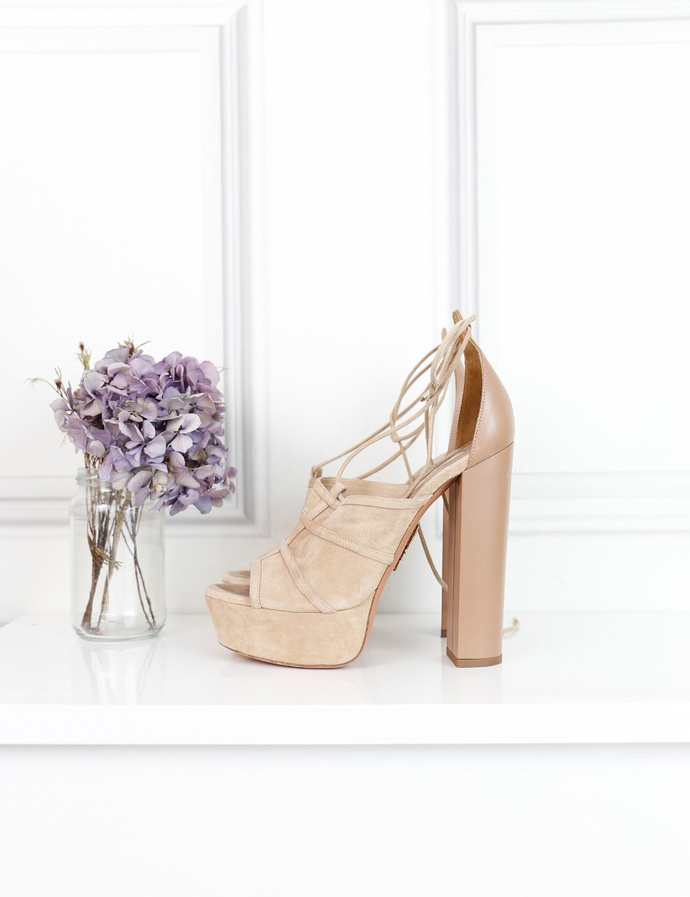 Aquazzura beige Very Eugenie suede and leather sandals 5.5UK- My Wardrobe Mistakes