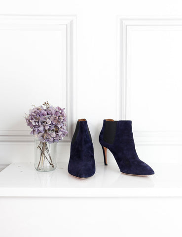 Aquazzura blue suede ankle boots with stiletto heel 5UK- My Wardrobe Mistakes