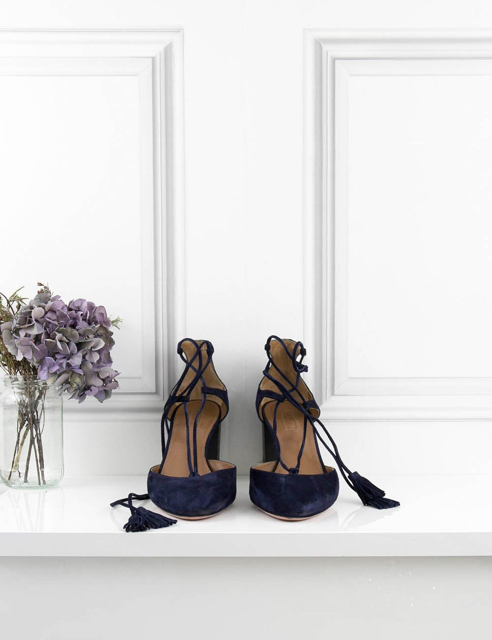 AQUAZZURA SHOES blue Boheme Block-heel Pumps 7UK- My Wardrobe Mistakes