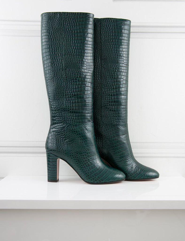 AQUAZZURA SHOES green Brera block-heel leather boots- My Wardrobe Mistakes