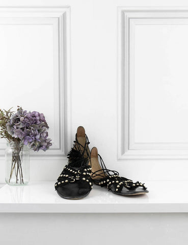 AQUAZZURA SHOES Flat sandals with round studs
