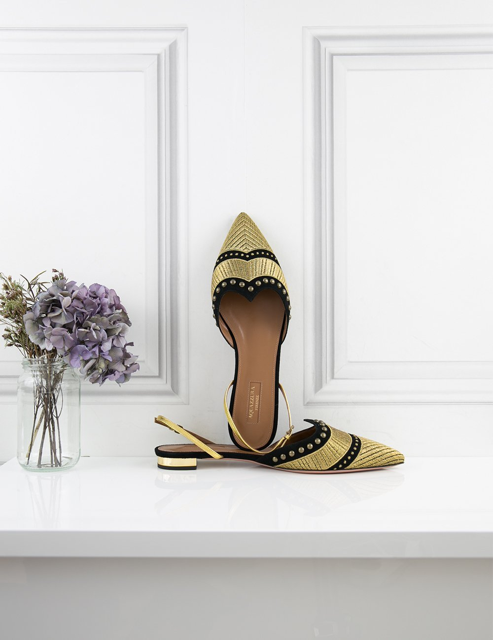 AQUAZZURA SHOES Marrakech studded embroidered point-toe flat shoes