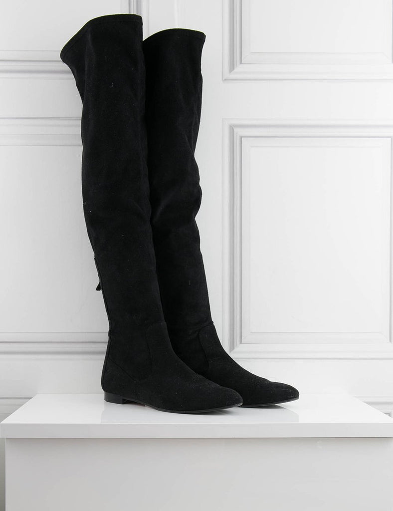 AQUAZZURA SHOES Over the knee suede Boots- My Wardrobe Mistakes