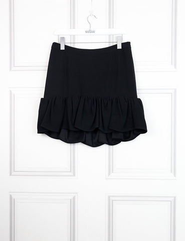 Balenciaga black mini skirt with ruffles 12UK- My Wardrobe Mistakes