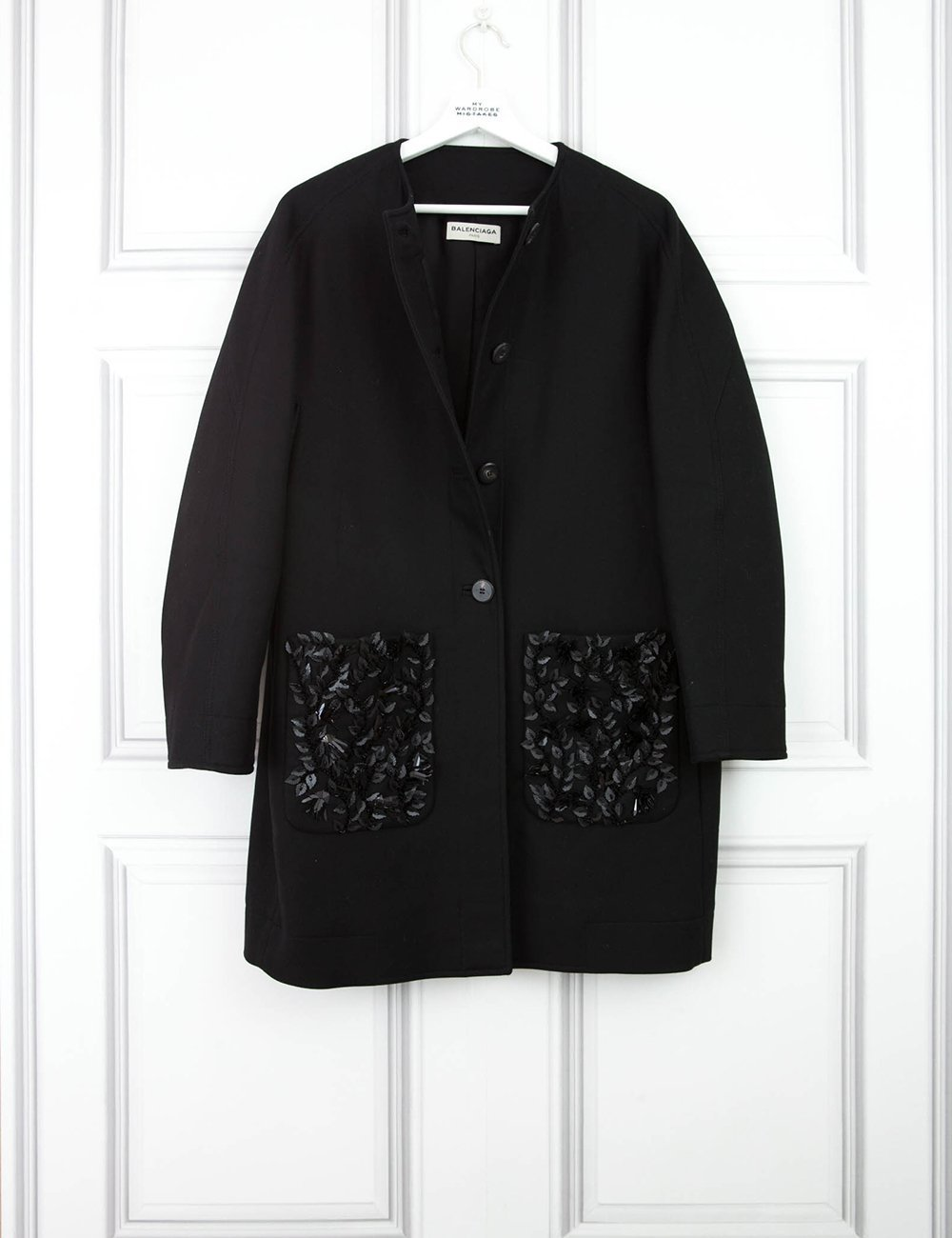 BALENCIAGA CLOTHING Box-cut 3/4 length sleeve coat with pocket detail