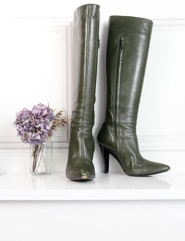Balenciaga green knee-high boots with pointed toe 5.5 UK- My Wardrobe Mistakes