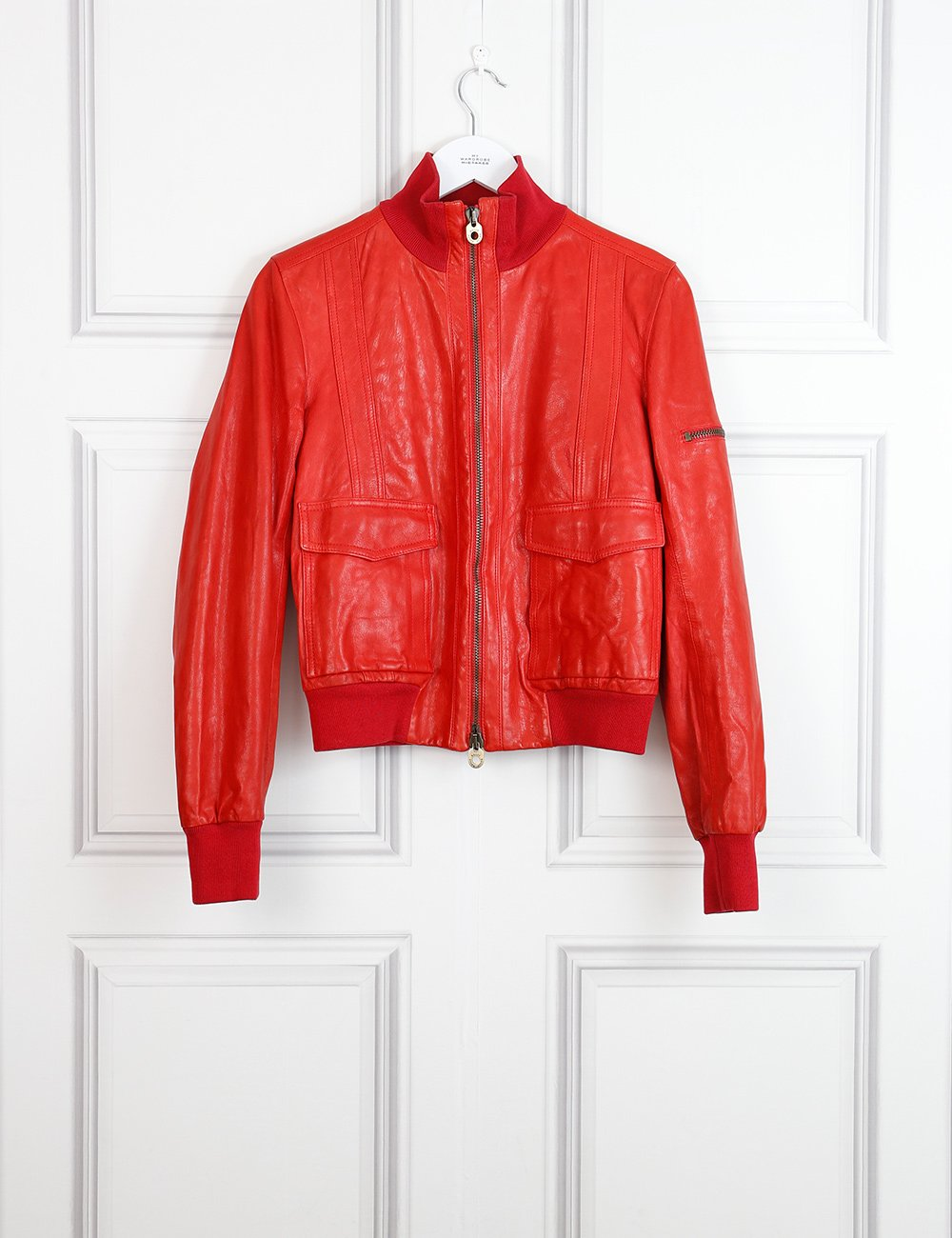 Bally red leather jacket with pockets at the front 12 UK- My Wardrobe Mistakes
