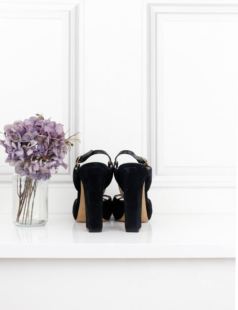 Bally black suede chunky heel sandals 7UK- My Wardrobe Mistakes