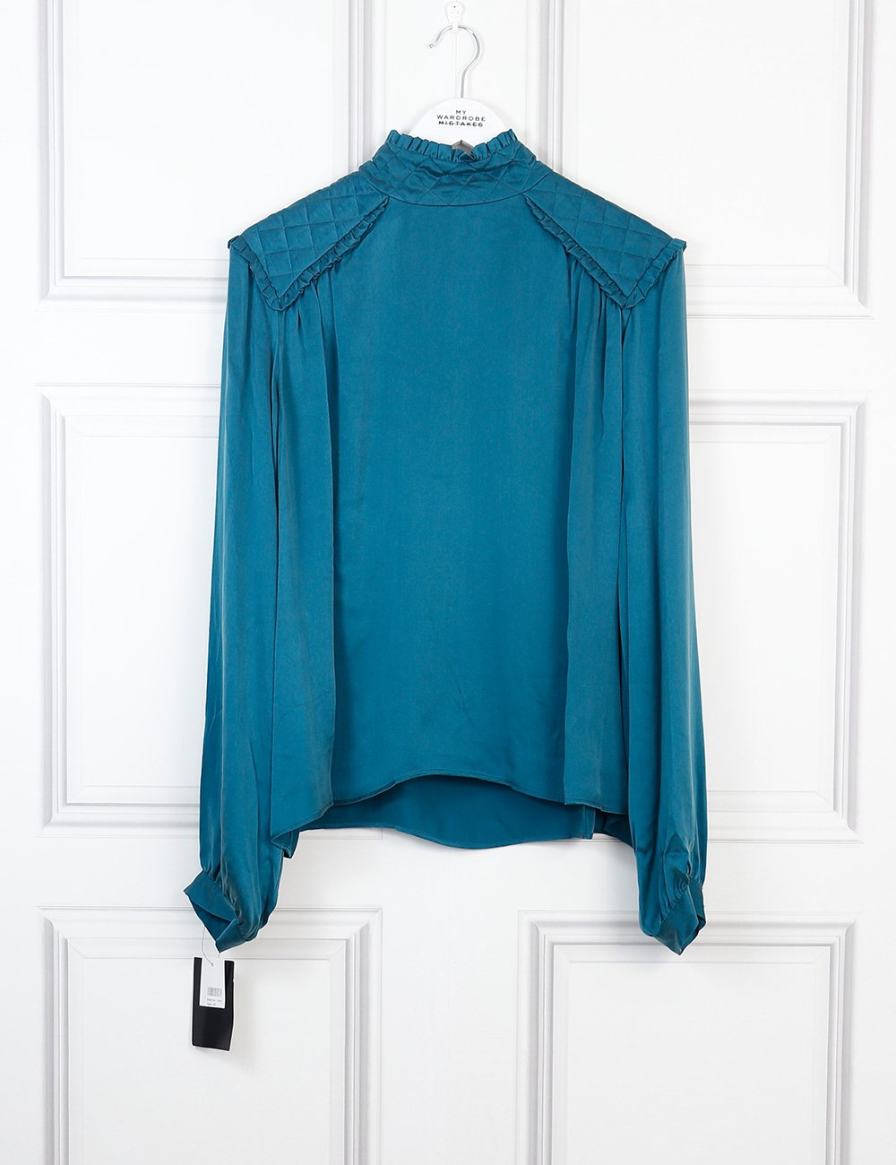 Balmain green silk blouse with quilted shoulders 12 Uk- My Wardrobe Mistakes