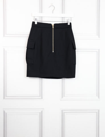 Balmain black skirt with pockets and golden button 8UK- My Wardrobe Mistakes