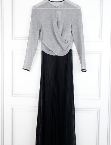 Barbara Casasola sheer bicolour long pleated dress 10UK- My Wardrobe Mistakes