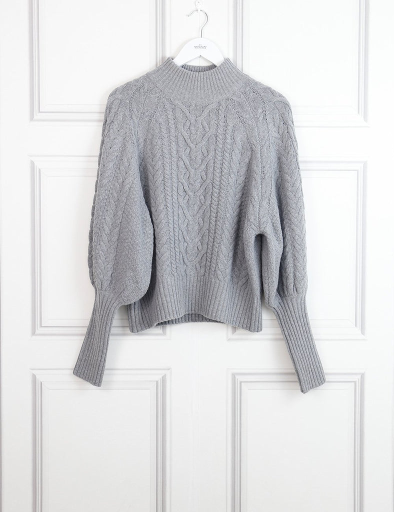 BCBG grey cable-knit pullover 12 Uk- My Wardrobe Mistakes