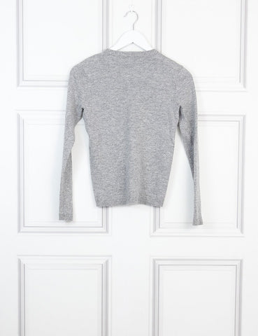 Bella Freud grey lion cashmere blend sweater 6Uk- My Wardrobe Mistakes