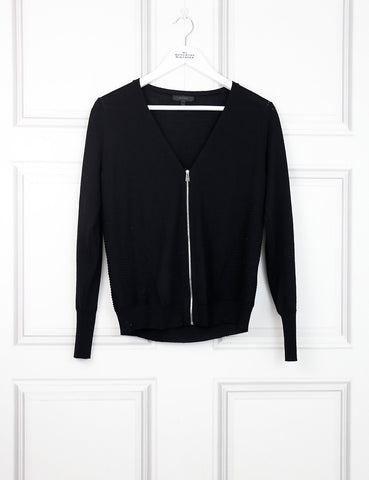 Belstaff black delicately patterned cardigan with zip 8Uk- My Wardrobe Mistakes