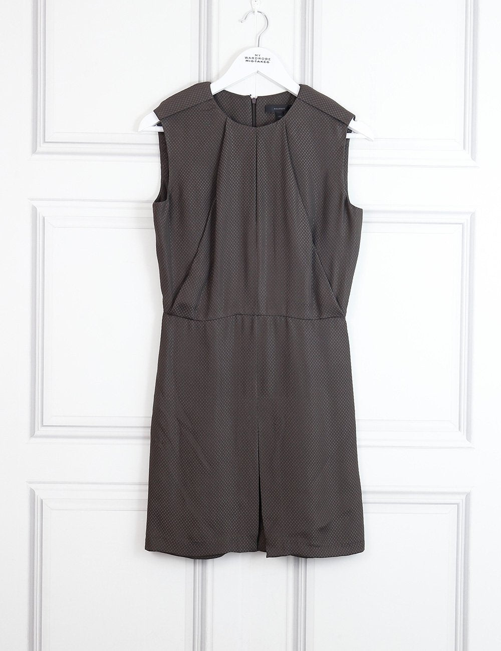 Belstaff brown sleeveless dress with detail on the shoulders 8Uk- My Wardrobe Mistakes