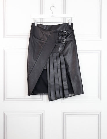 Belstaff black leather skirt with pleats 6Uk- My Wardrobe Mistakes