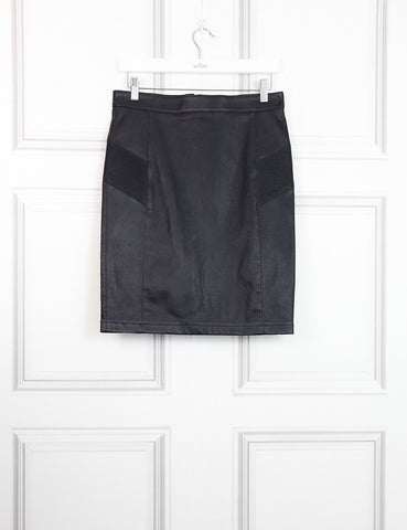 Belstaff black leather skirt with pleated details 8UK- My Wardrobe Mistakes