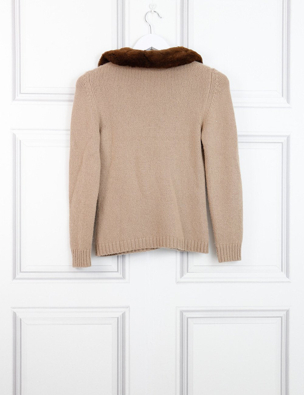Blumarine beige cashmere cardigan with contrasting neckline 14 Uk- My Wardrobe Mistakes