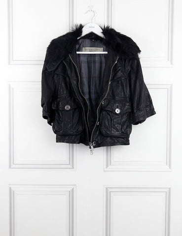 Burberry Brit black leather jacket with fur collar 10UK- My Wardrobe Mistakes