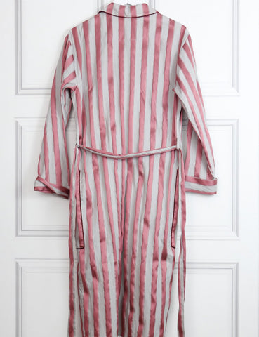 Burberry multicolour Panama stripe cotton silk blend dressing gown coat 10Uk