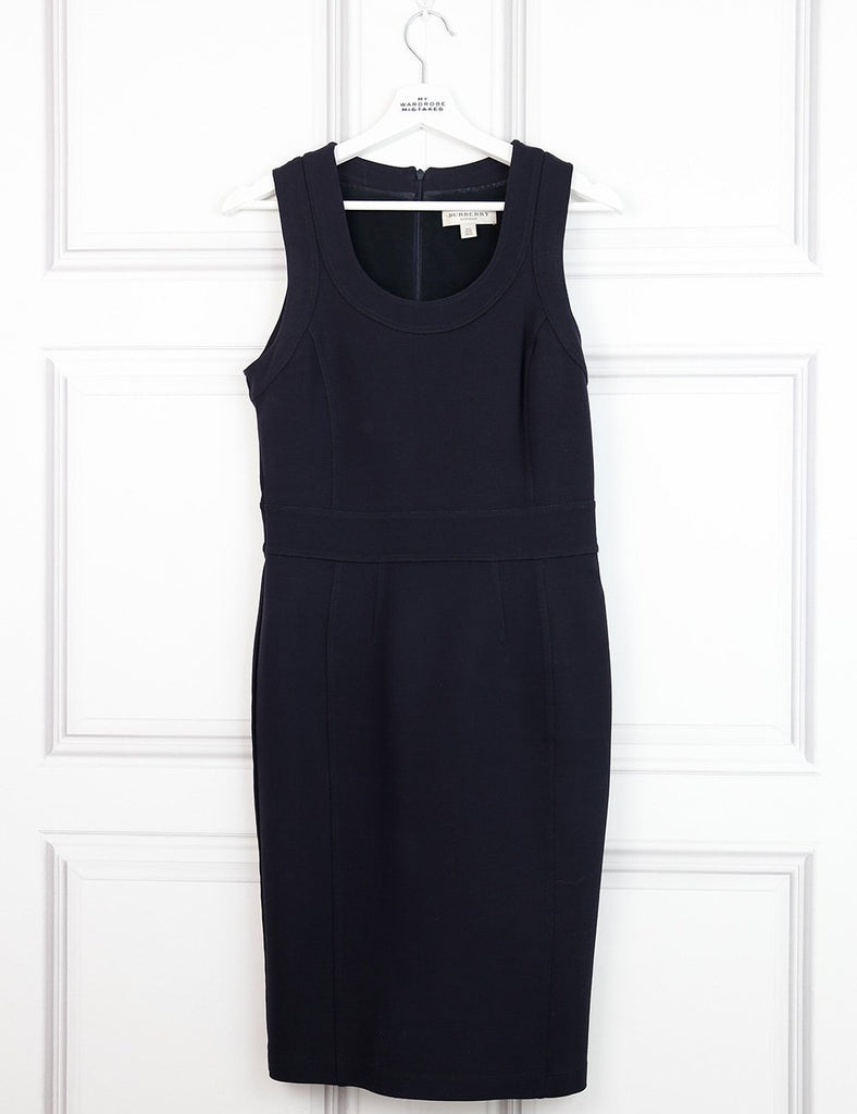 Burberry blue mid-length sleeveless fitted dress 10UK- My Wardrobe Mistakes