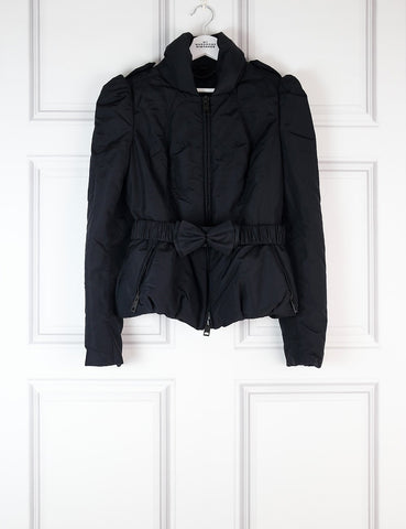 BURBERRY CLOTHING 12UK-44IT-40FR / Black BURBERRY Bow-belt quilted jacket