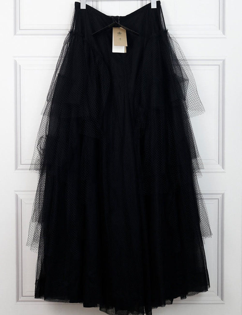 Burberry black tulle tiered skirt 12 uk