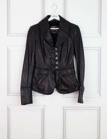 BURBERRY CLOTHING 8UK-40IT-36FR / Black BURBERRY Leather Jacket