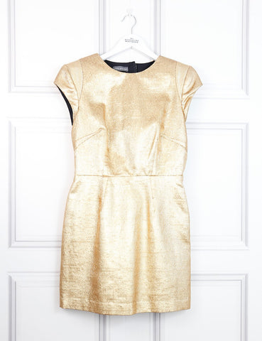Camilla and Marc gold metallic fitted dress 8Uk- My Wardrobe Mistakes