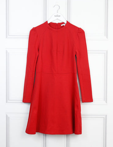 Carven red fit and flared long sleeves dress 10 UK- My Wardrobe Mistakes