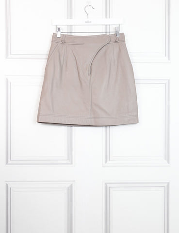 Carven taupe leather skirt 10Uk- My Wardrobe Mistakes