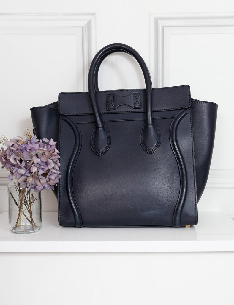 CELINE blue Mini luggage handbag- My Wardrobe Mistakes