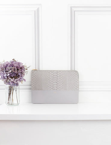 Celine grey clutch in python- My Wardrobe Mistakes
