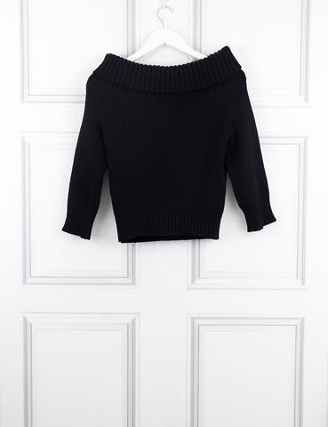 Celine black wide neck knitted pullover 10UK- My Wardrobe Mistakes