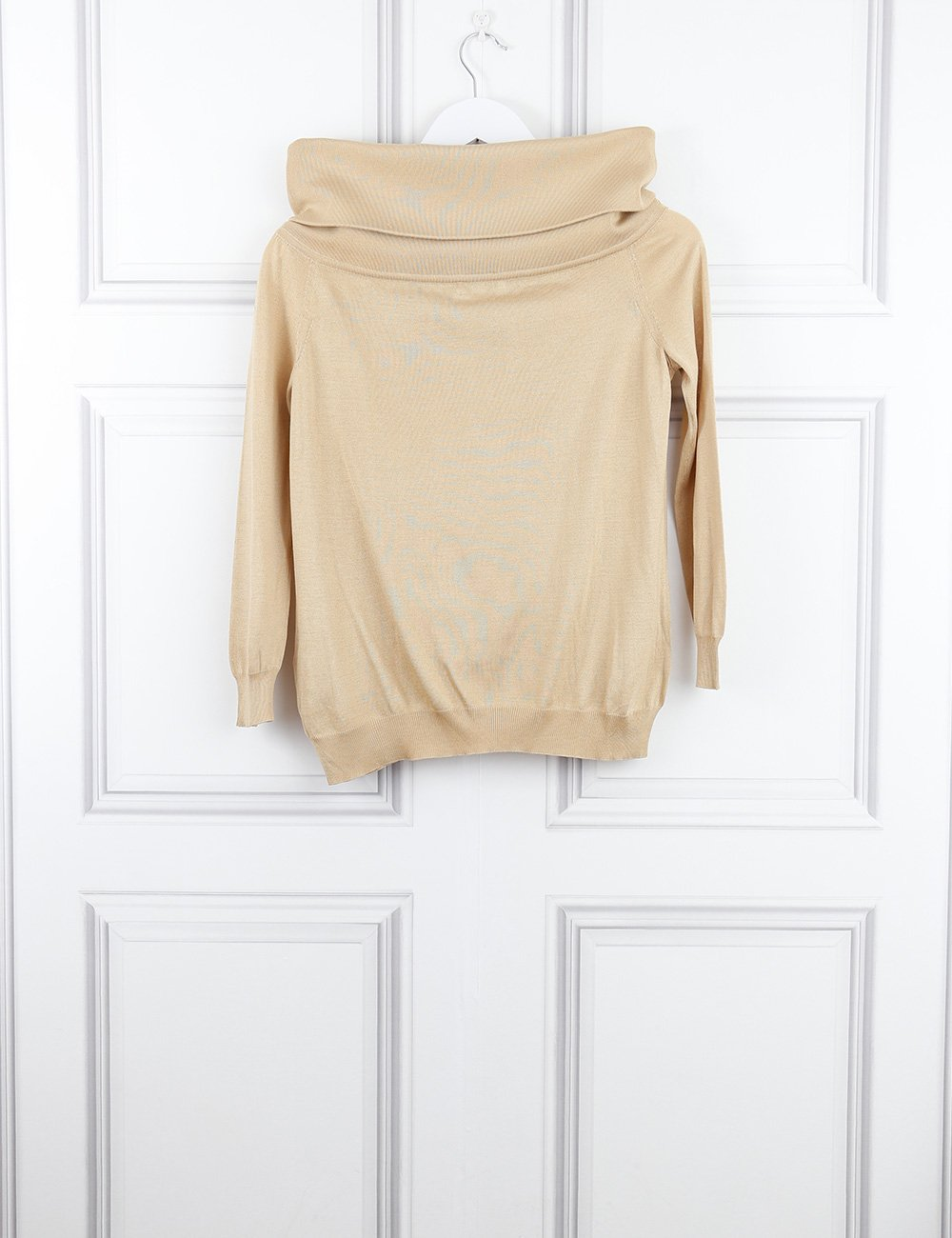 Celine gold top with wide neck 8UK- My Wardrobe Mistakes