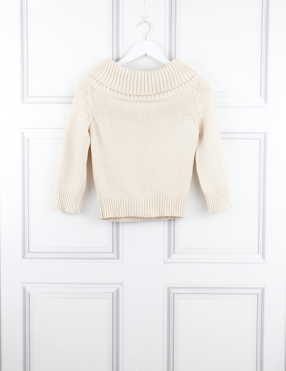 Celine cream cashmere wide neck knitted pullover 8UK- My Wardrobe Mistakes