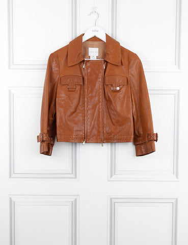 Celine brown leather jacket 12UK- My Wardrobe Mistakes