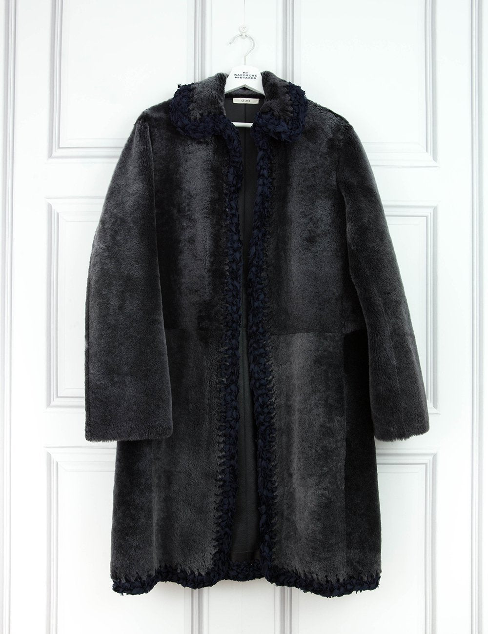 CELINE Reversible slate shearling leather coat