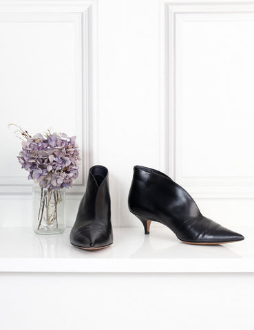 Celine black pointed toe v neck kitten heel pumps 4Uk