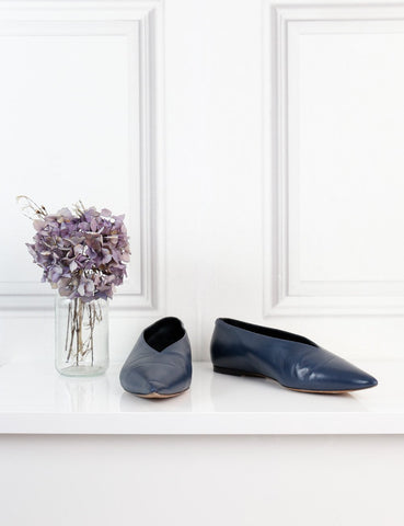 Celine blue pointed toe v neck ballerina flats 4Uk