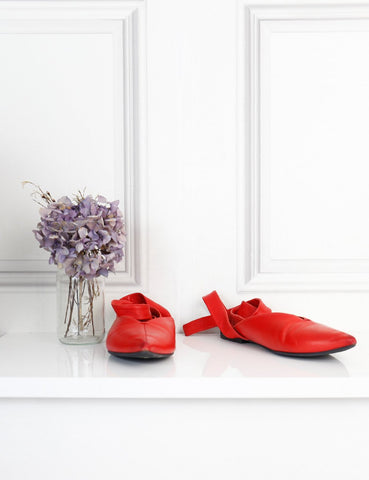 Celine red strappy flats 4Uk