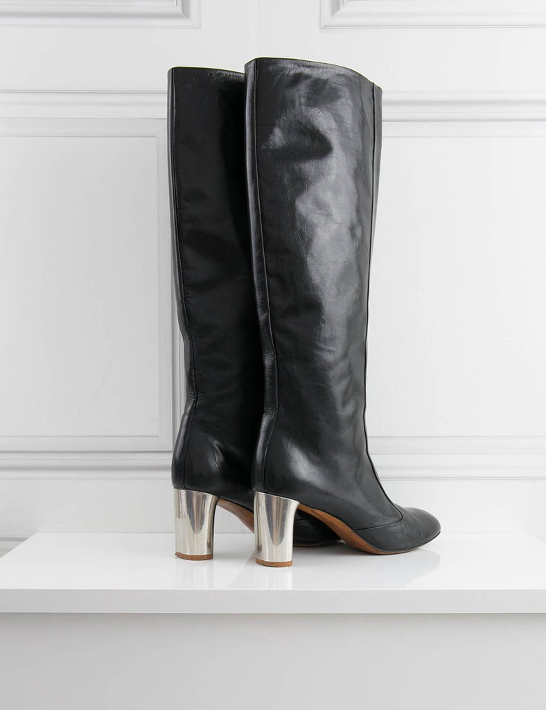 CELINE SHOES Over the knee leather boots 7UK- My Wardrobe Mistakes
