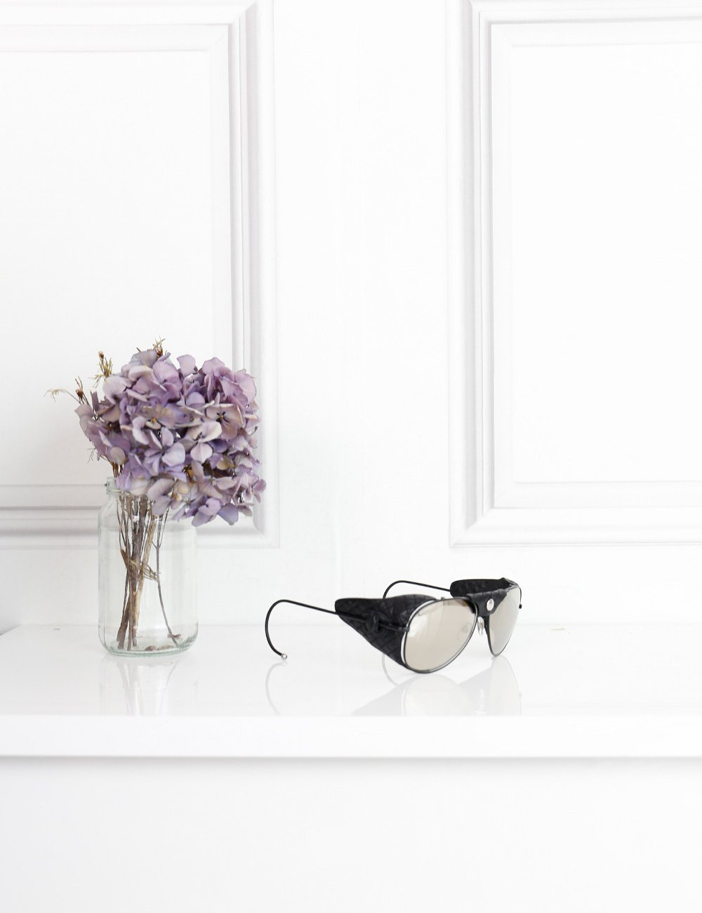 Chanel black mirrored aviator sunglasses with leather sides- My Wardrobe Mistakes