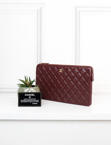 CHANEL ACCESSORIES One size / Burgundy CHANEL Zip Around Wallet Burgundy Caviar Leather