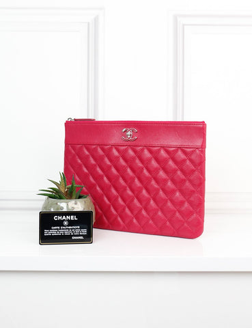 CHANEL ACCESSORIES One size / Fuchsia CHANEL Medium quilted and smooth leather O Case