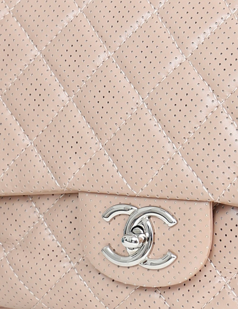 CHANEL BAGS One size / Beige CHANEL Perforated Leather Punch Flap Shoulder Bag