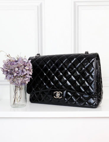 Chanel patent black Classic double flap Maxi quilted bag- My Wardrobe Mistakes
