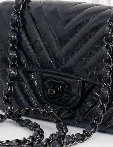 CHANEL BAGS One size / Black CHANEL Patent Metallic Crumpled Calfskin Chevron Quilted Mini Rectangular Flap Bag So Black